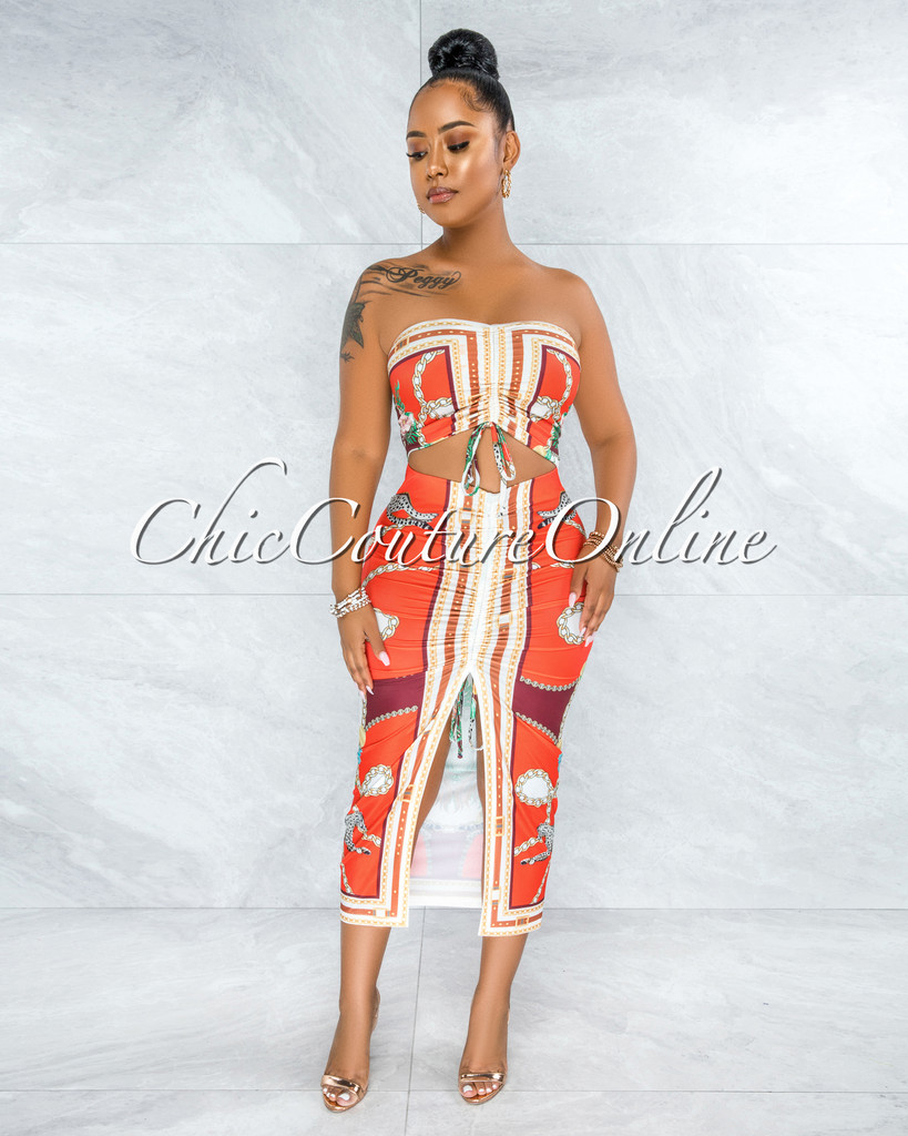Glover Red Multi-Color Print Crop Top & Ruched Skirt Set