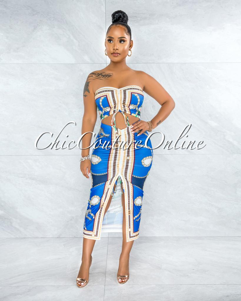 Glover Blue Multi-Color Print Crop Top & Ruched Skirt Set
