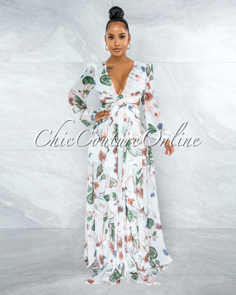 Feryal Ivory Floral Print O-Ring Lace-Up Back Maxi Dress