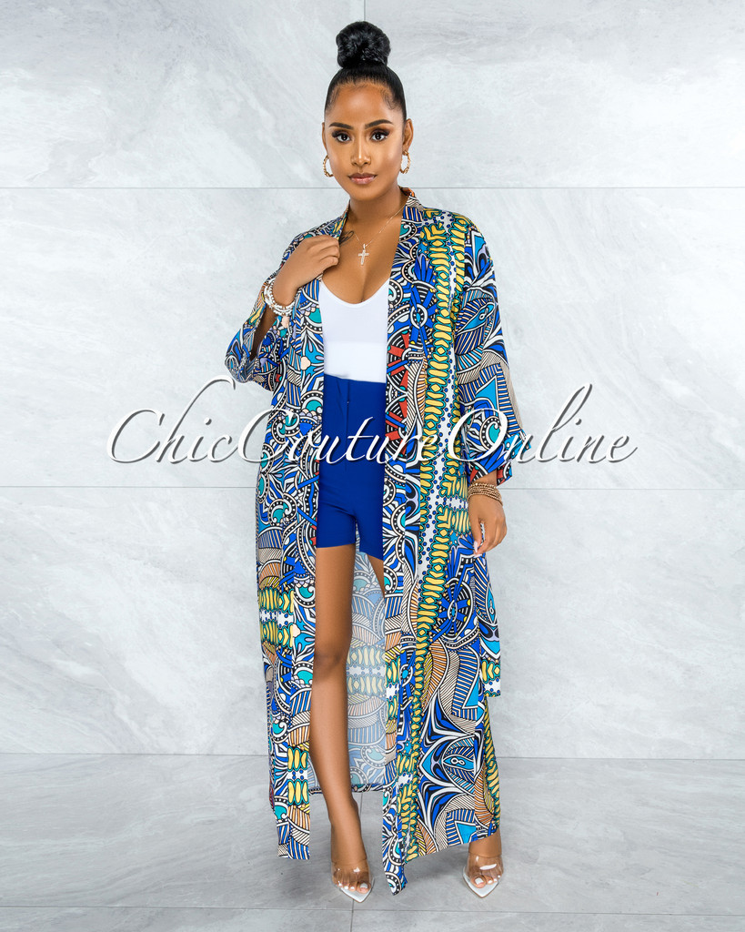 Mercy Blue Yellow Multi-Color Print Satin Luxe Duster