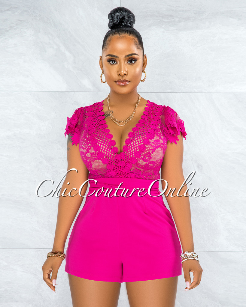 Carter Fuchsia Crochet Lace Sheer Top Romper