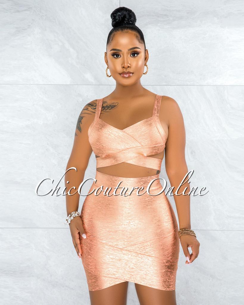 Chica Peach Gold Foil Bandage Two Piece Set