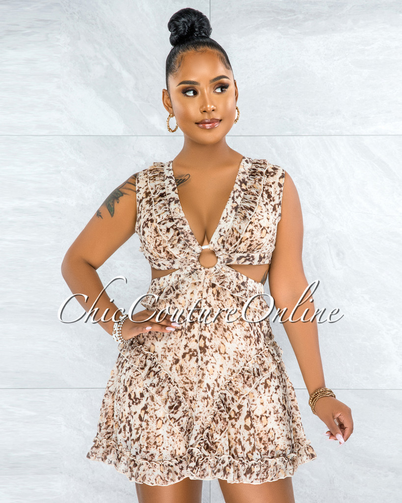 Elmar Brown Nude Print O-Ring Ruffle Hem Dress