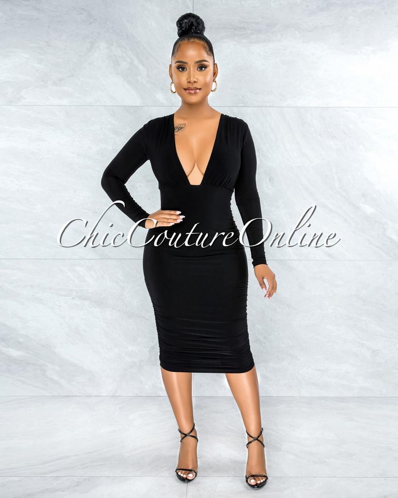 Elzie Black Ruched Sides Deep-V Neckline Midi Dress