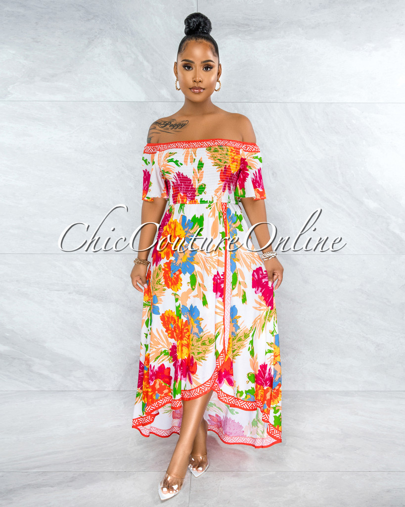 Garvey Ivory Floral Smocked Top High-Low Maxi Dress