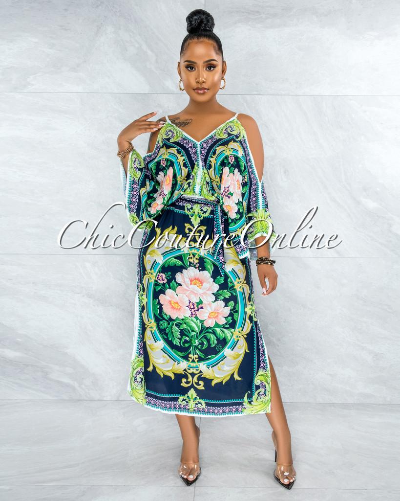 Jesuan Navy Green Multi-Color Print Wide Sleeves Maxi Dress
