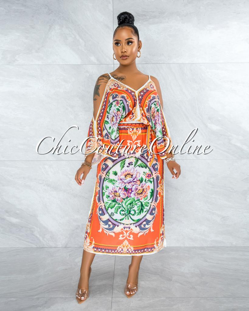 Jesuan Orange Multi-Color Print Wide Sleeves Maxi Dress