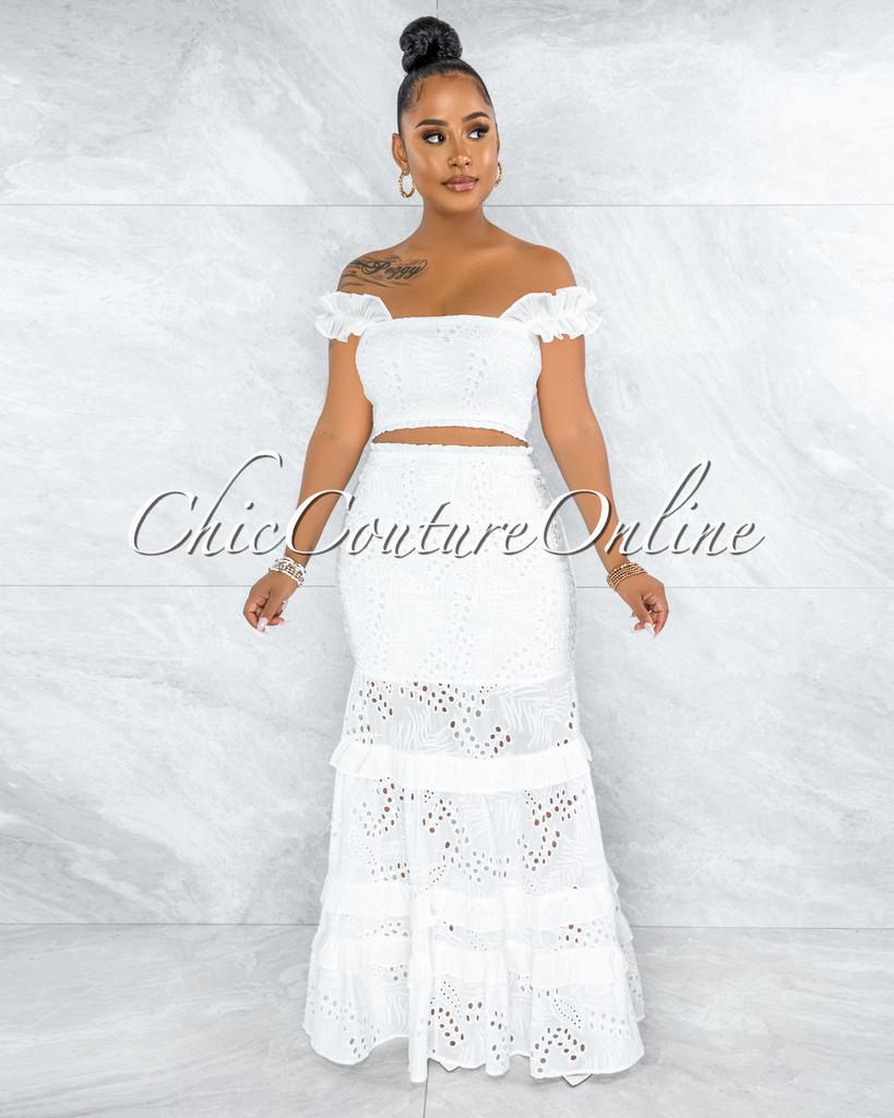 Gloria White Eyelet Two Piece Maxi Skirt Set