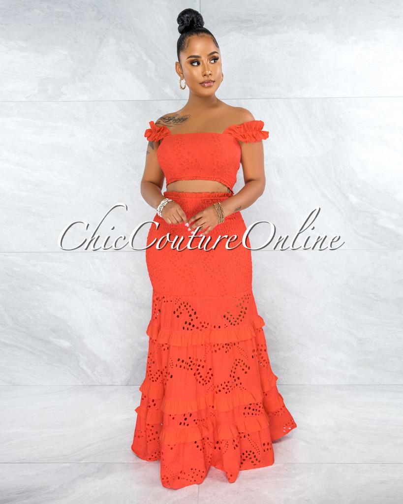 Gloria Coral Eyelet Two Piece Maxi Skirt Set