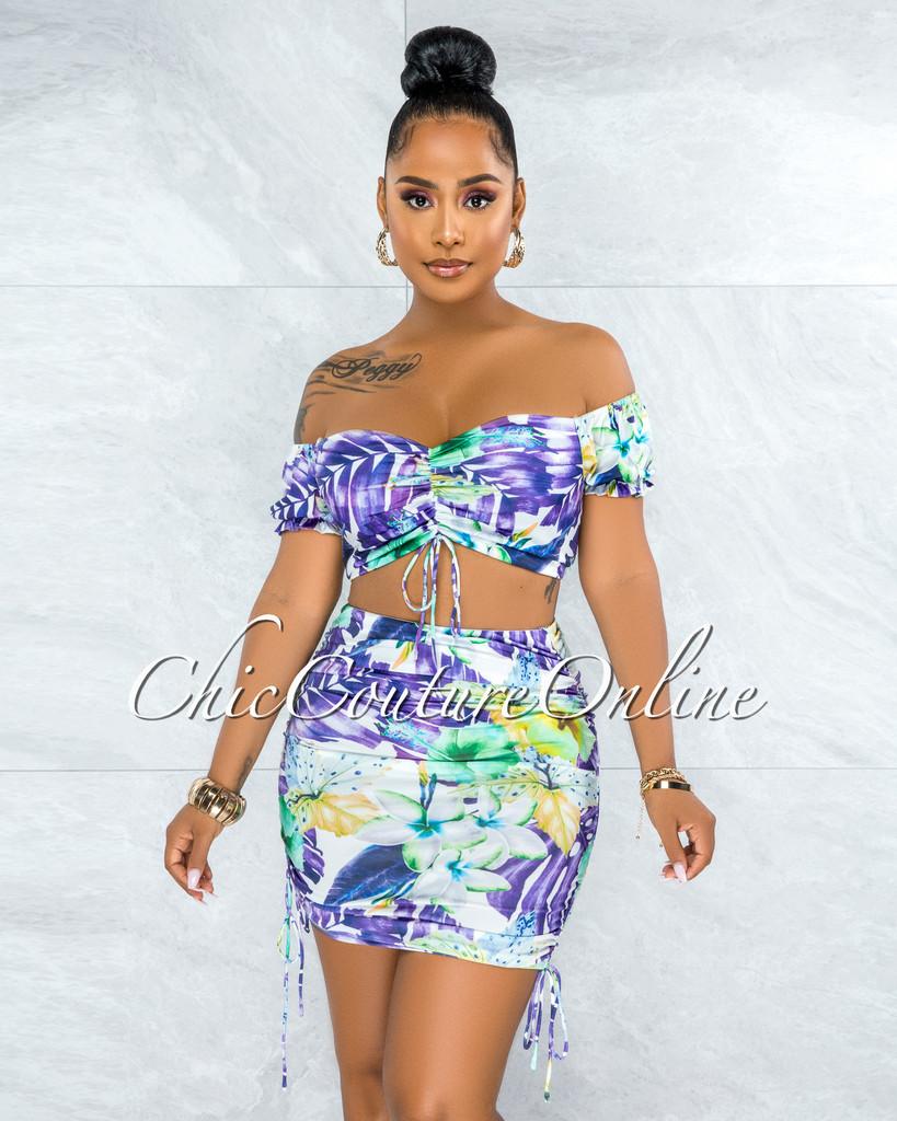 Almarine Purple Multi-Color Print Crop Top & Ruched Skirt Set