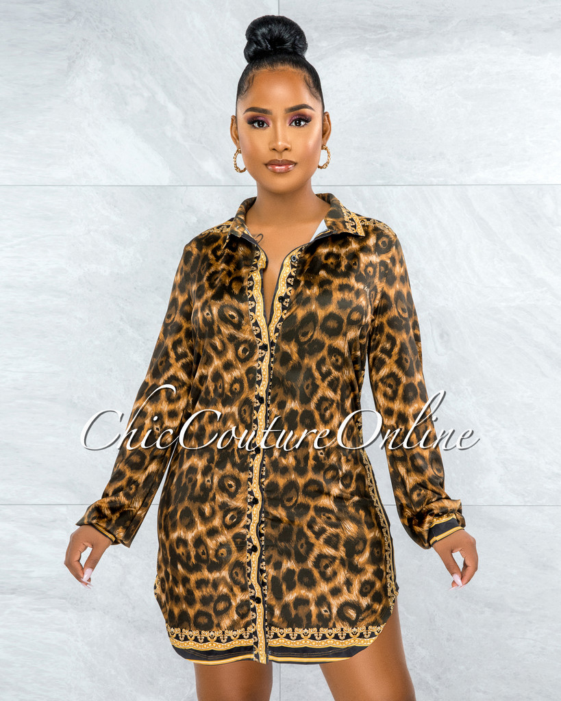 Omanie Black Gold Leopard Print Buttons Shirt Dress
