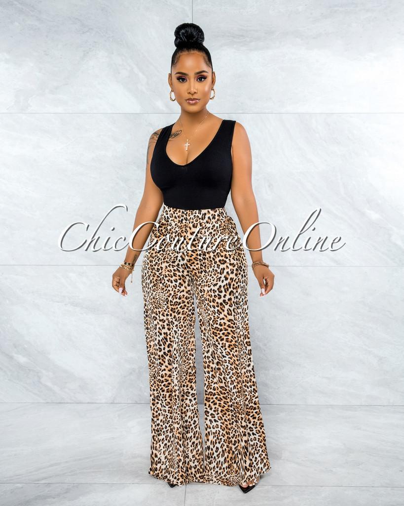 Nabila Brown Leopard Print Satin Wide Pants