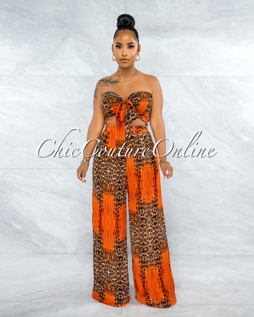 Meredith Orange Leopard Print Smocked Top & Wide Pants Set