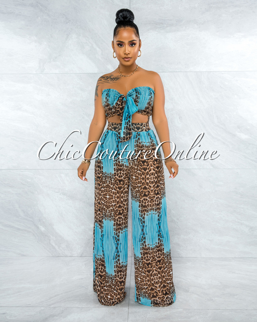 Meredith Turquoise Leopard Print Smocked Top & Wide Pants Set