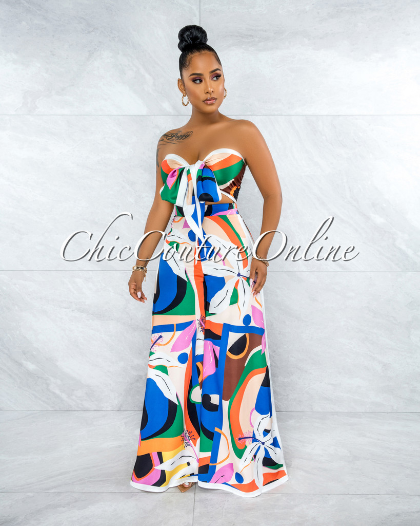 Haloke White Multi-Color Multi-Way Top & Wide Legs Set