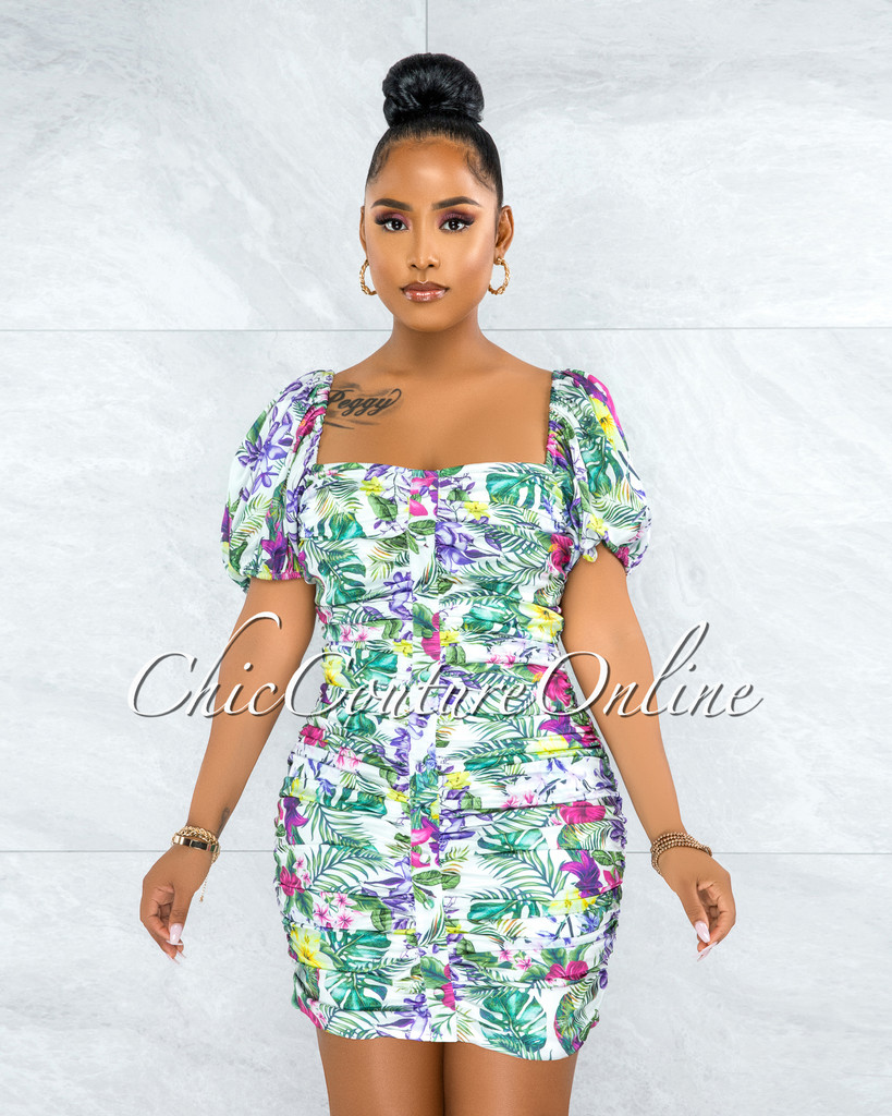 Ishana White Floral Print Front Buttons Ruched Mini Dress