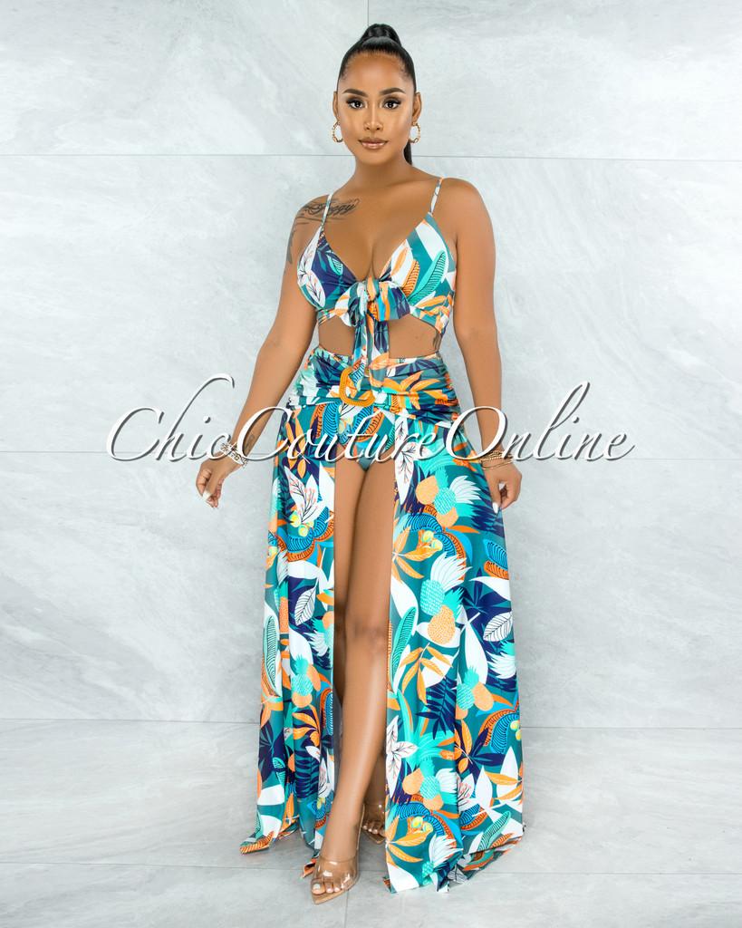 Rohini Jade Leaf Print Wood Buckle Bodysuit Maxi Skirt Set