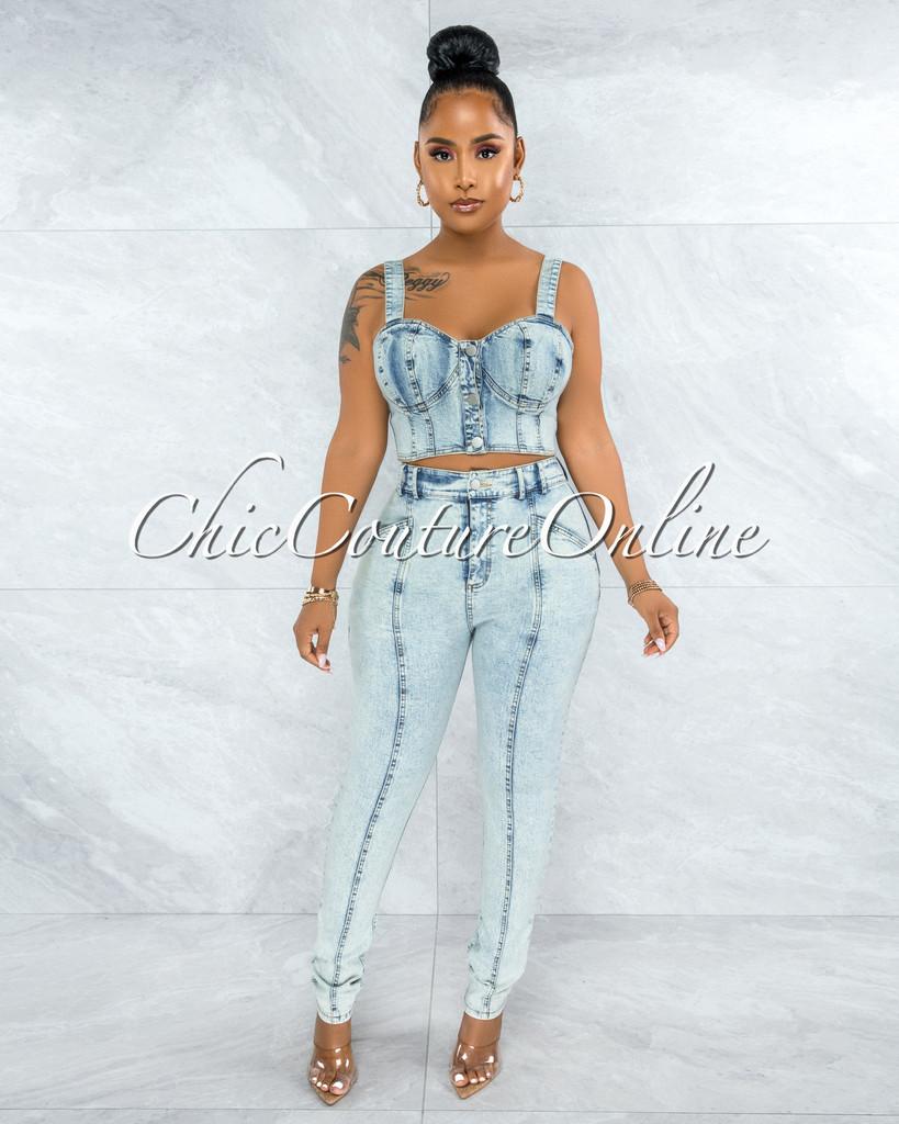 Rhaxma Light Washed Denim Top & Jeans Set