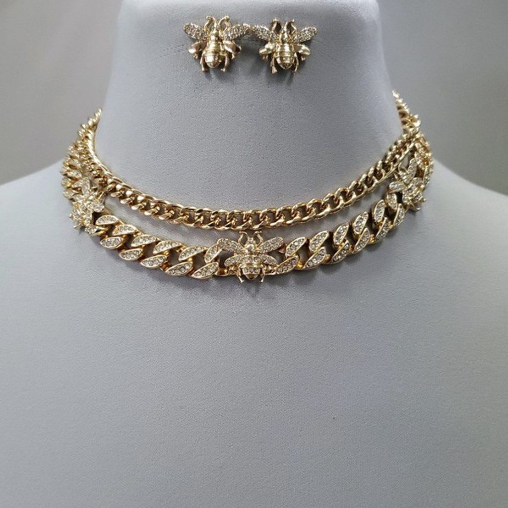 Naika Gold Bee Accented Rhinestones Chain Link Necklace