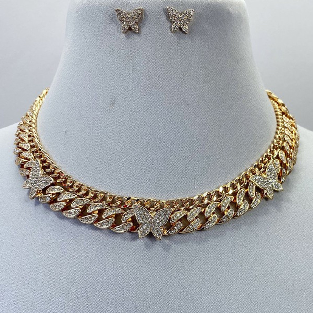 Yvana Gold Butterfly Chain Link Choker Necklace