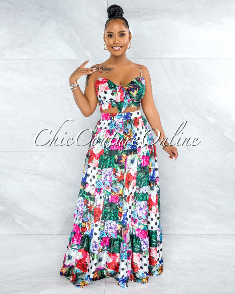 Vasanti Multi-Color Print Front Tie Two Piece Skirt Set