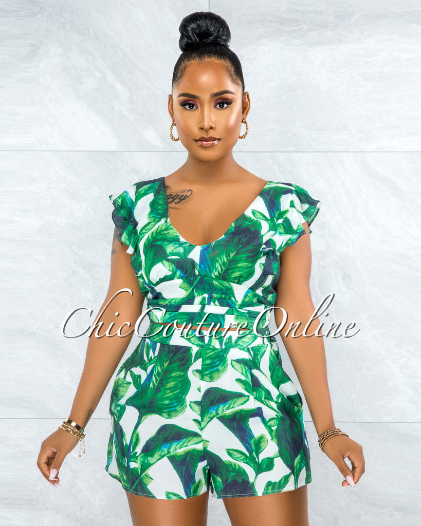 Julia White Green Leaf Print Ruffle Top & Shorts Set