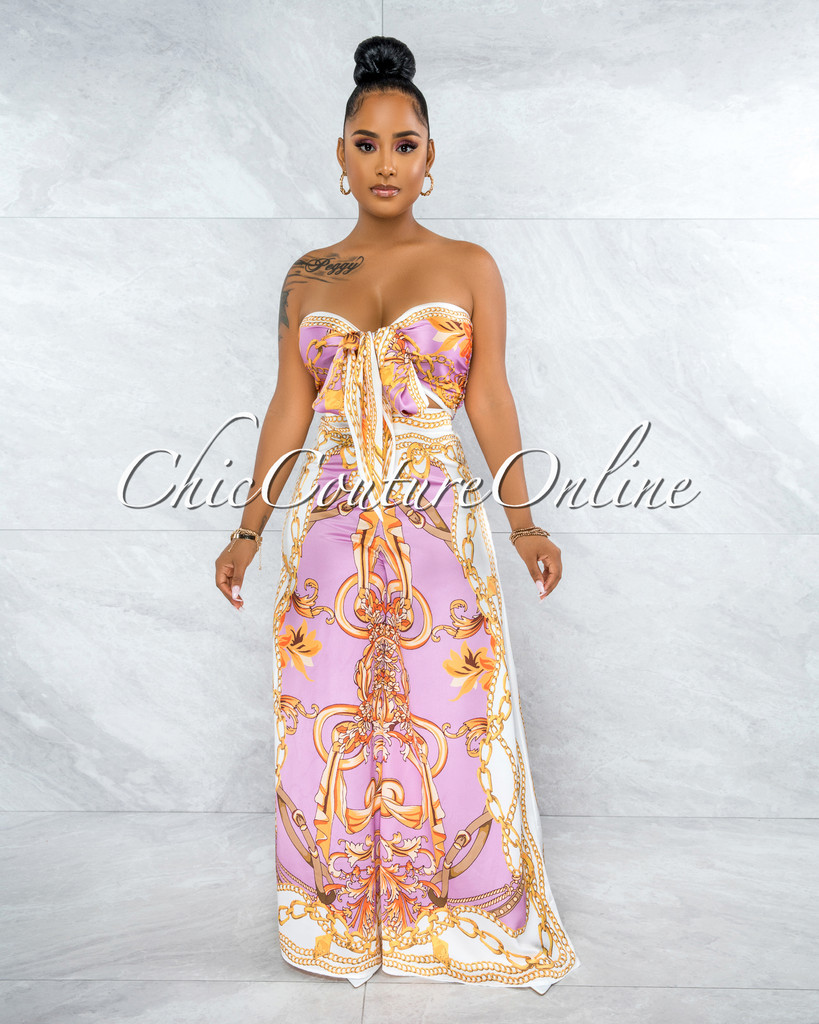 Severa Pink Gold Print Multi-Way Top & Wide Legs Set