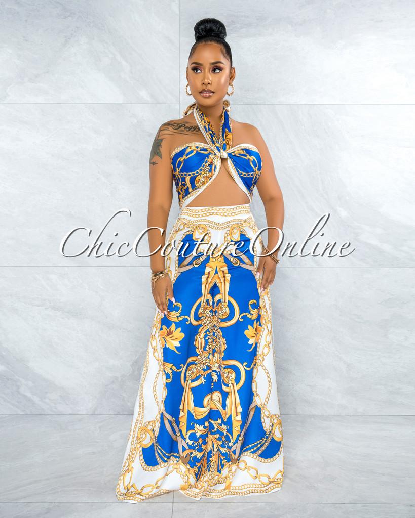 Severa Royal Blue Gold Print Multi-Way Top & Wide Legs Set