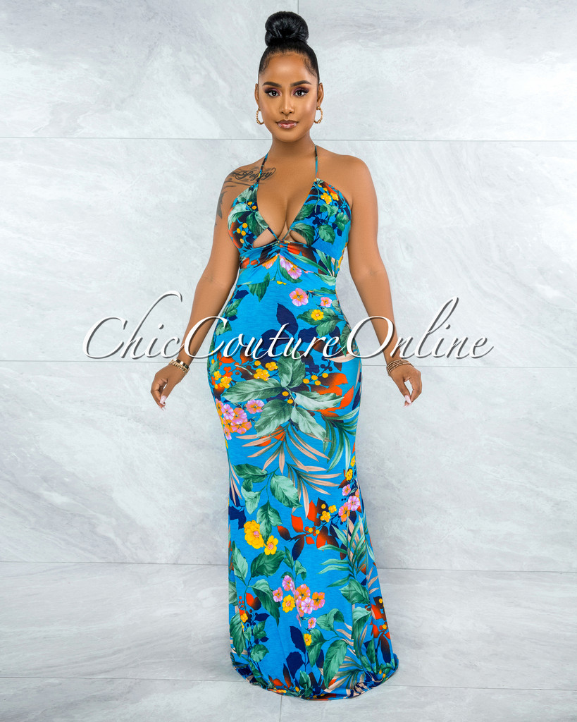 Montego Dark Turquoise Floral Print Ruched Cut-Out Maxi Dress