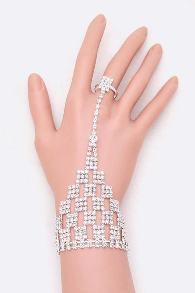 Fabia Silver Rhinestone Statement Palm Ring Bracelet