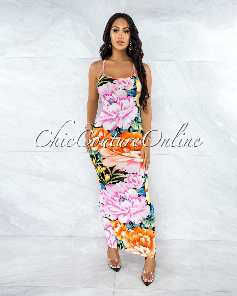 Anonna Black Multi-Color Floral Print Maxi Dress