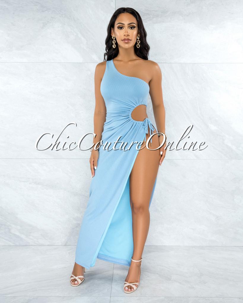 Dully Baby Blue Side Key-Hole Tie Maxi Ribbed Dress