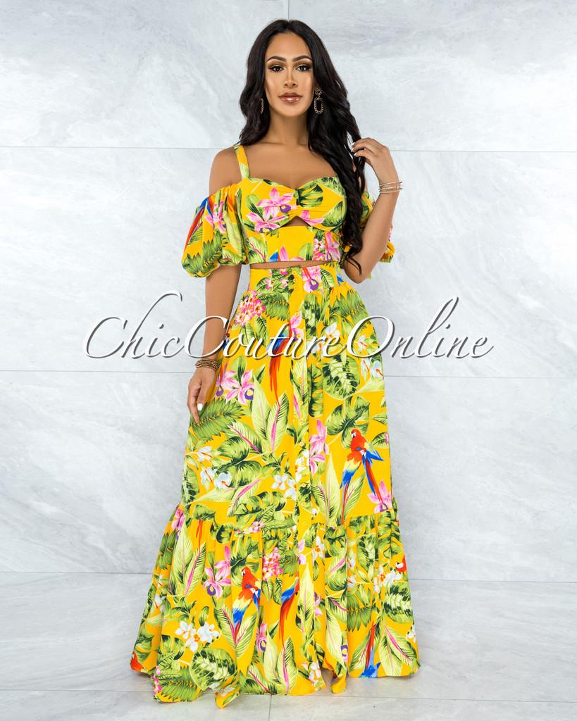 Divina Yellow Floral Print Cold Shoulder Top & Maxi Skirt Set