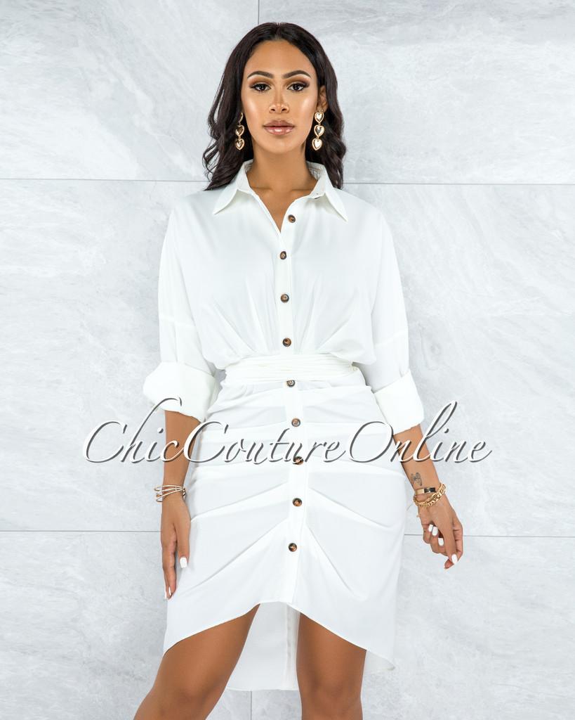Quanda Off-White Buttons Drape Shirt Hi-Lo Dress