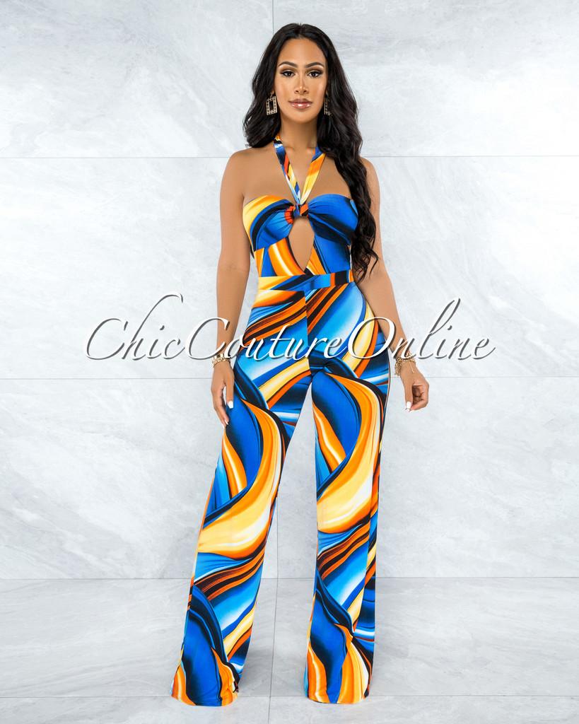 Myrta Blue Orange Front Cut-Out  Wide Legs Jumpsuit