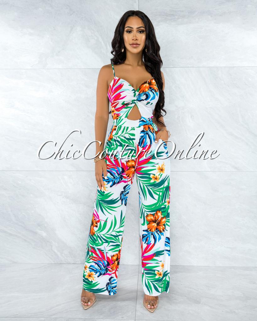 Nandalia White Multi-Color Print Front Cut-Out Jumpsuit