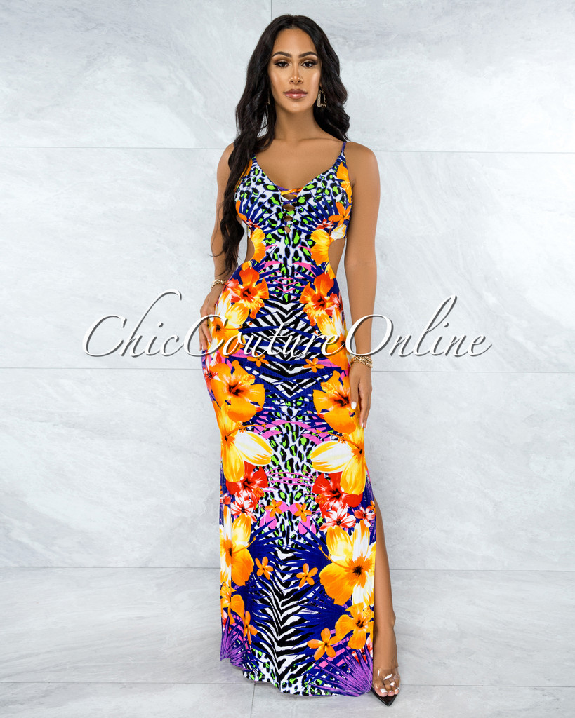 Oxana Multi-Color Side Key-Holes Maxi Dress