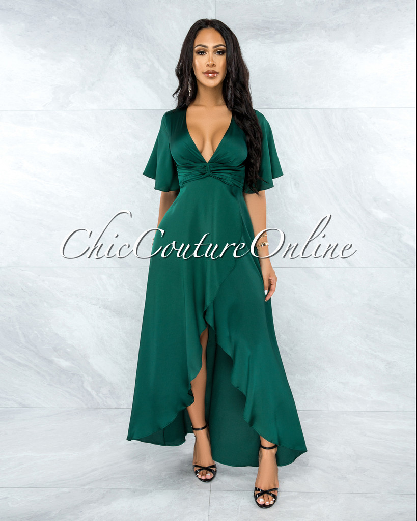 Jesimiel Hunter Green Drape Dramatic High-Low Slit Dress