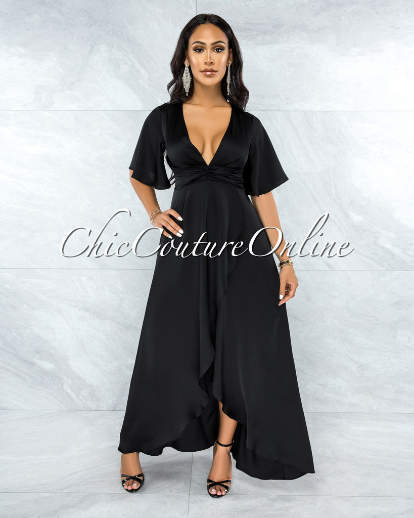 Jesimiel Black Drape Dramatic High-Low Slit Dress