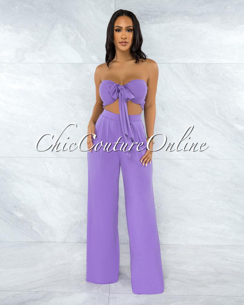 Ziarre Purple Front Tie Top & Wide Legs Pants Set