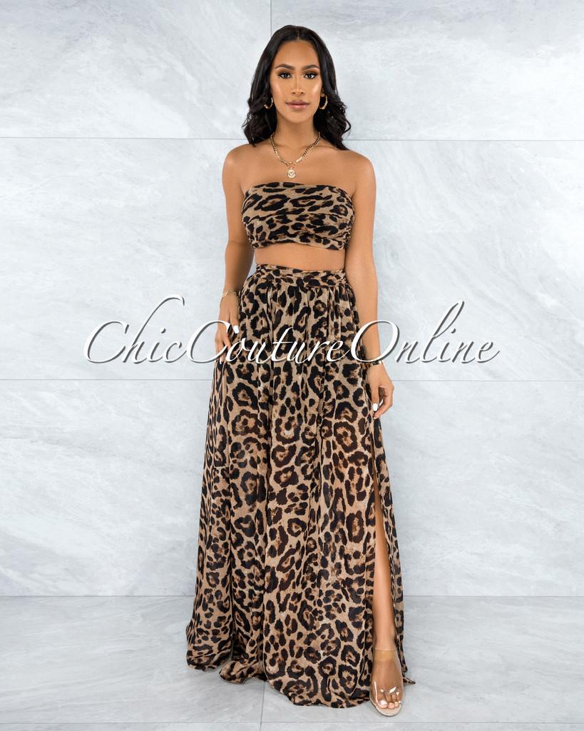 Ryba Brown Leopard Print Crop Top & Maxi Skirt Set