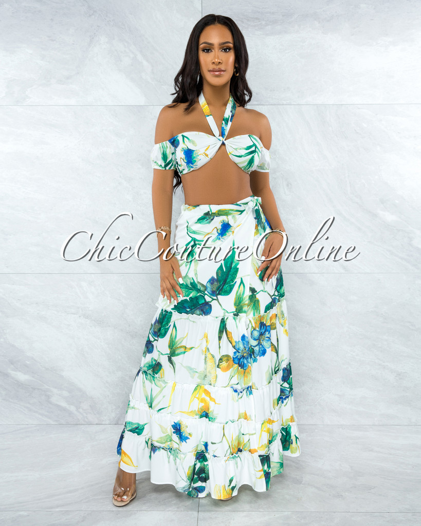 Jacques White Green Leaf Print Two Piece Skirt Set
