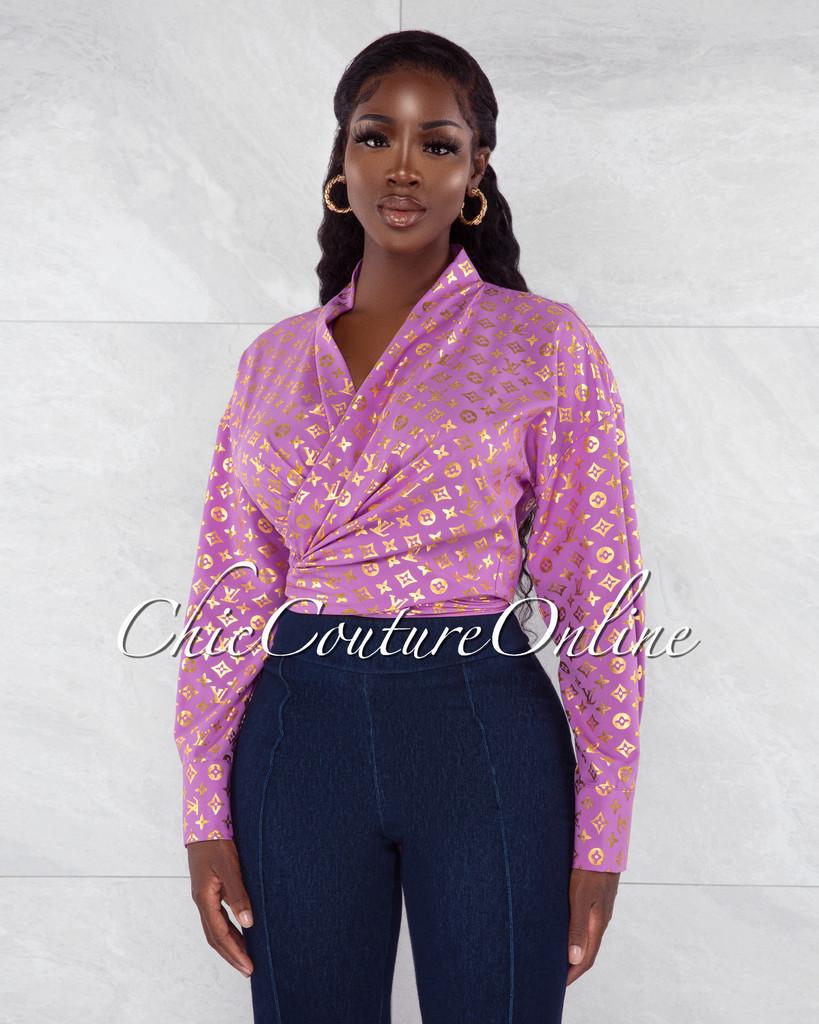 Sosie Purple Gold Print Front Tie Blouse