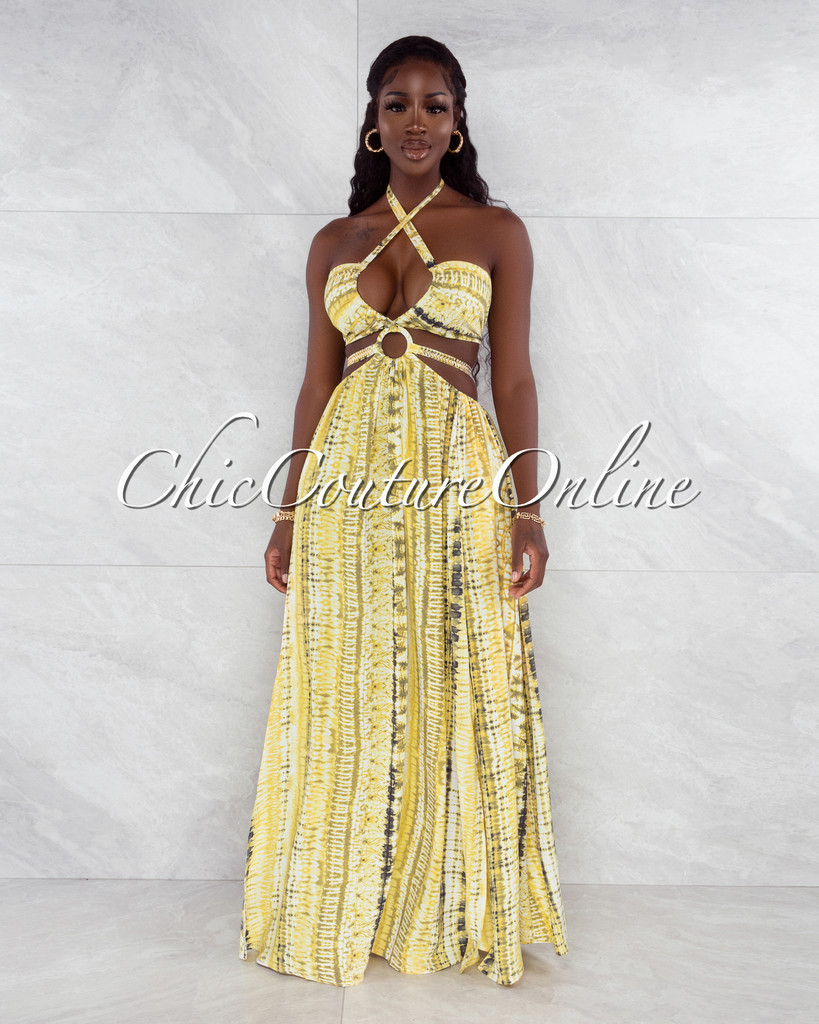 Cabello Yellow Green Print Cut-Out Sides Silver Link Dress