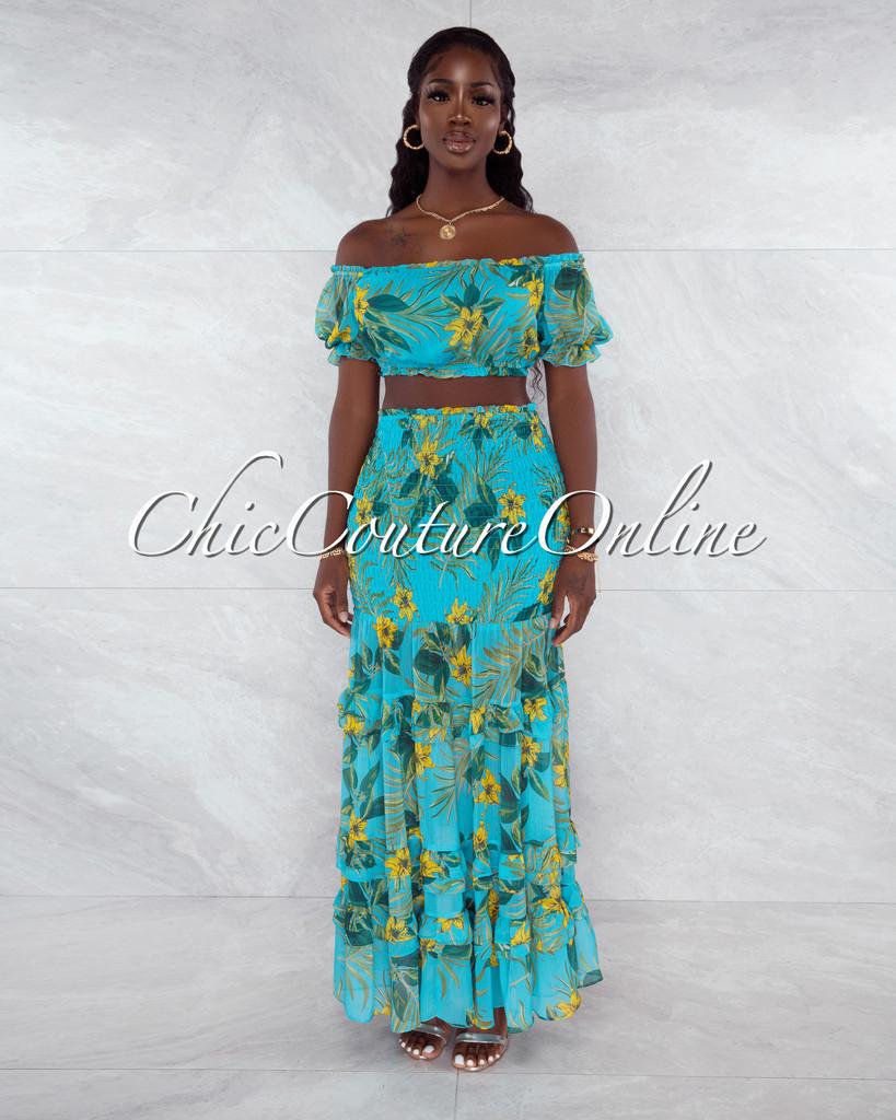Antkit Turquoise Green Leaf Print Crop Top & Smocked Skirt Set