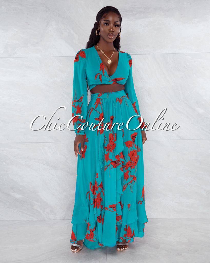 Maninder Teal Red Floral Print Top & Maxi Skirt Set