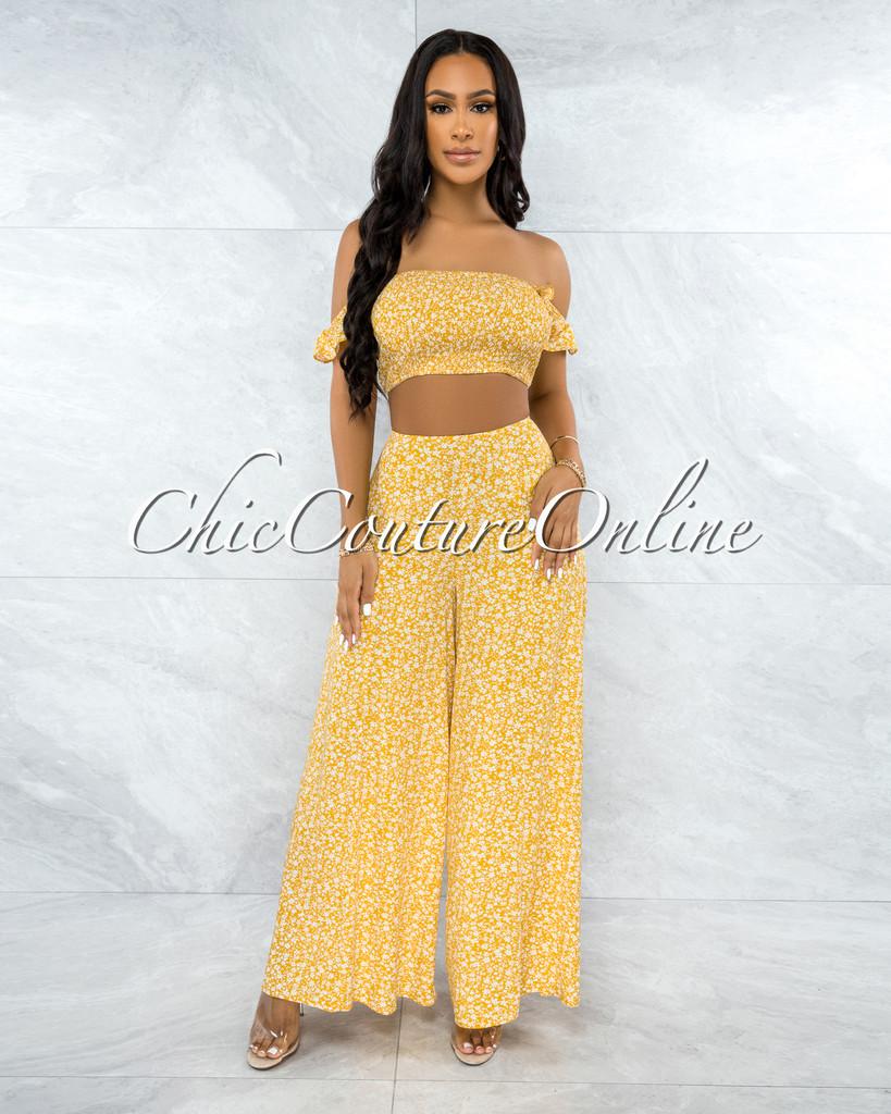 Yanka Yellow White Floral Print Crop Top & Wide Pants Set