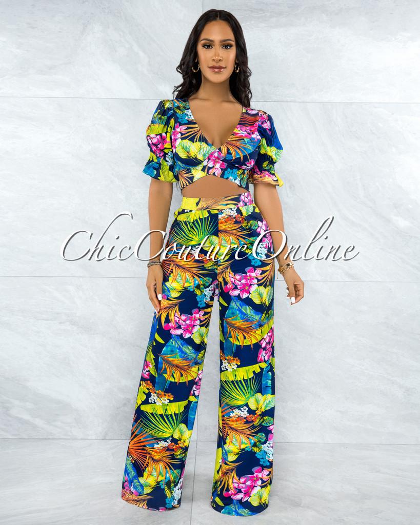 Zinat Navy Blue Floral Print Crop Top & Wide Pants Set