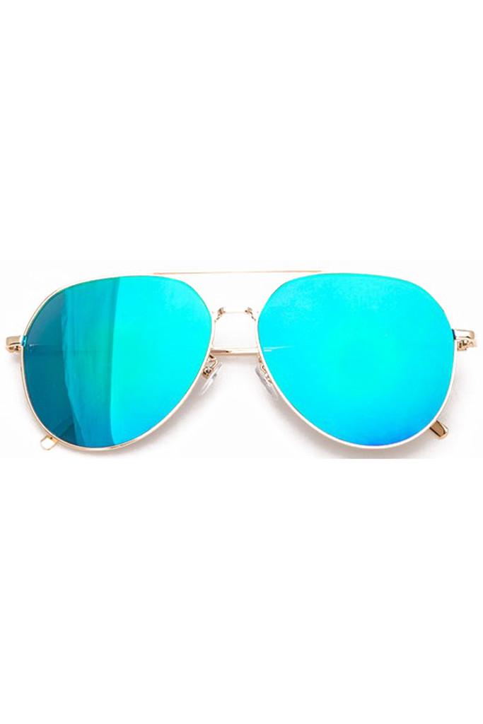 Yanina Iridescent Blue Aviator Sunglasses