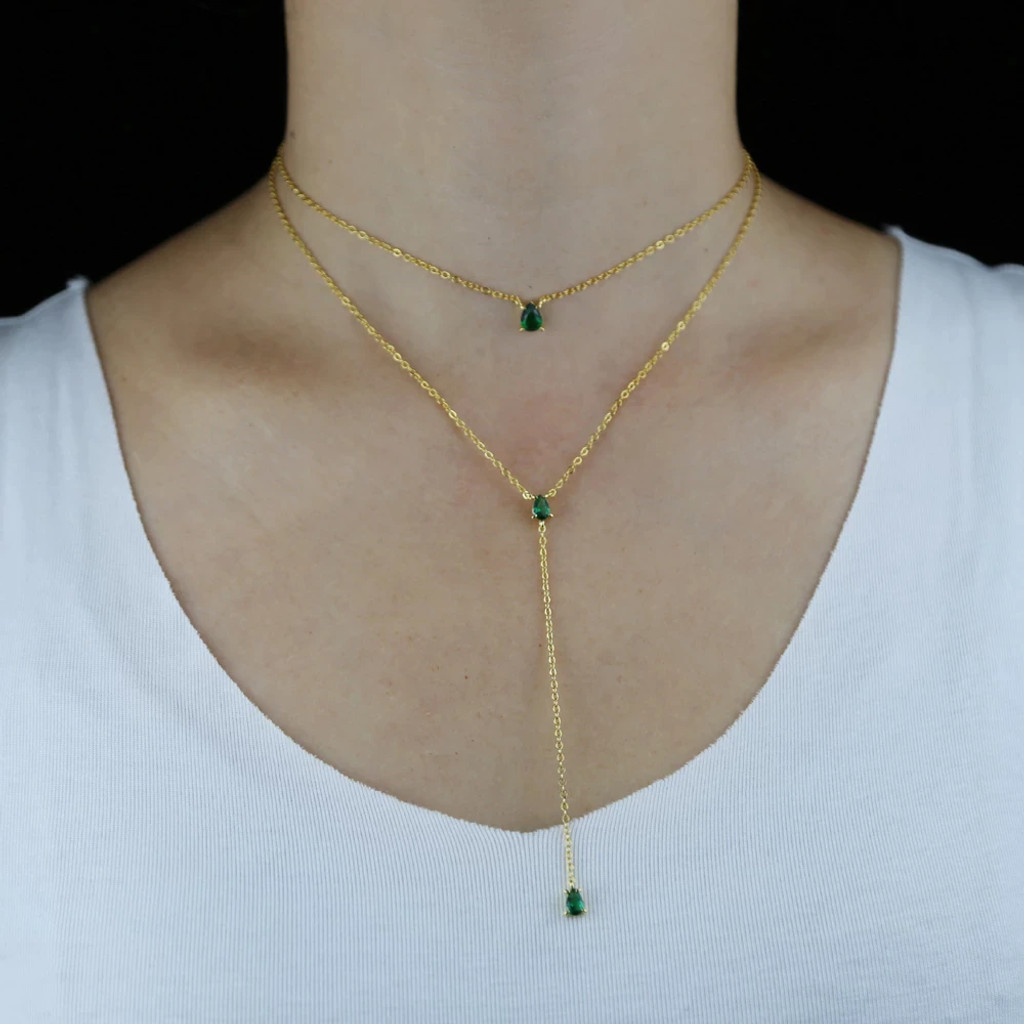 Crista Gold Emerald Green Tear Drop Layered Necklace